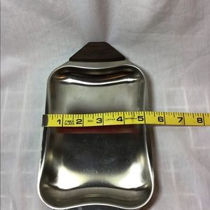 Dining - Stainless Steel Serving Condiment Tray Dish Wood